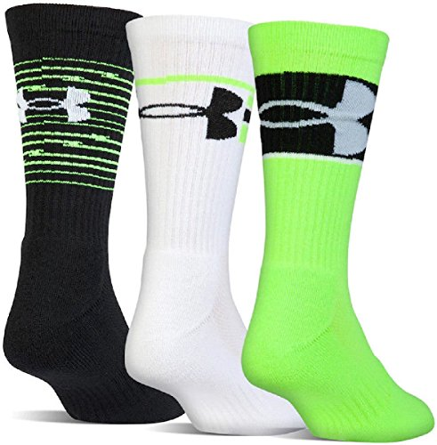 Under Armour Boys Youth UA Training 3 Pack Cushioned Crew Socks 4Y-8Y (Shoe - Downtown Brooklyn Store