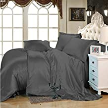 Selection Bedding Luxurious Ultra Soft Silky Satin 7-Piece Bed Sheet Set with Duvet Set Cal-King, Elephant Grey