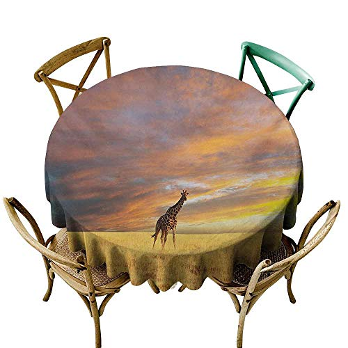Dustproof Tablecloth Giraffe Animal in Savannah Under Clouds at Sunset African Wildlife Themed Safari Soft and Smooth Surface D71 Yellow Blue Mauve