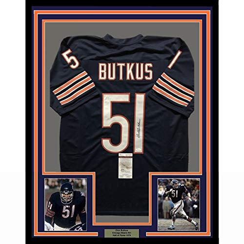 Framed Autographed/Signed Dick Butkus 33x42 Chicago Bears Blue Football Jersey JSA COA
