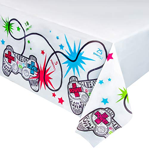 Video Game Plastic Tablecloth - 3-Pack Gamer Party 54 x 108 Inch Table Cover, Fits up to 8-Foot Long Tables, Gaming Themed Decoration Supplies, 4.5 x 9 -