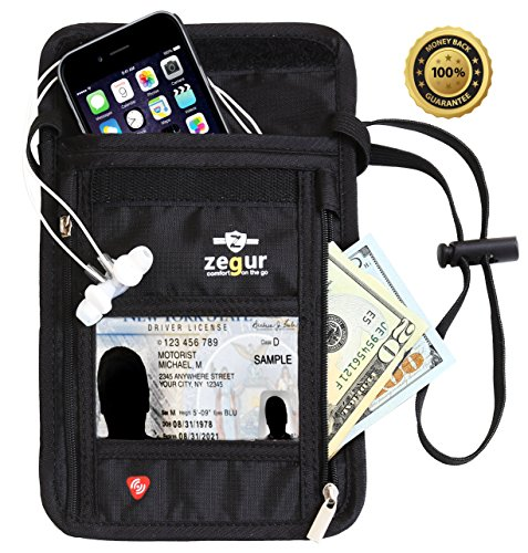 Zegur Travel Neck Pouch ID Wallet, Boarding Passport Holder with RFID Blocking Technology, Breathable Mesh Backing for Women