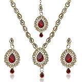 Dancing Girl Women's Antique Kundan Like Work Indian Pakistani Ethnic Necklace Set Mw82M Red