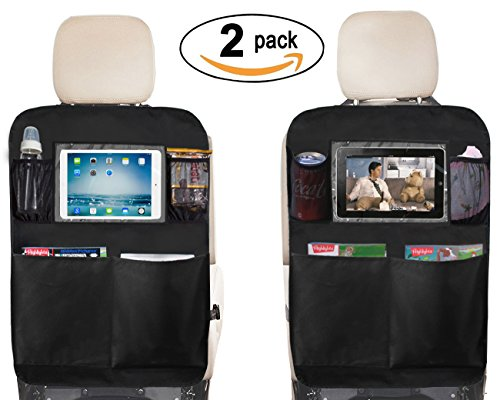 Kick Mat Seat Back Protectors with PVC Pockets Seat Covers For Car BackSeat, 2 Pack (2-Black)