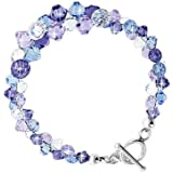 Gem Avenue Sterling Silver Swarovski Elements Lavender Blue and Clear Crystal Handmade Bracelet 7.5 inch with Toggle clasp