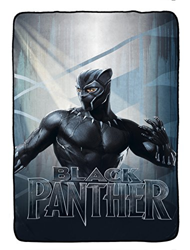 Jay Franco Marvel Black Panther Blue Tribe Blanket - Super Soft Bedding Features Black Panther - Measures 62