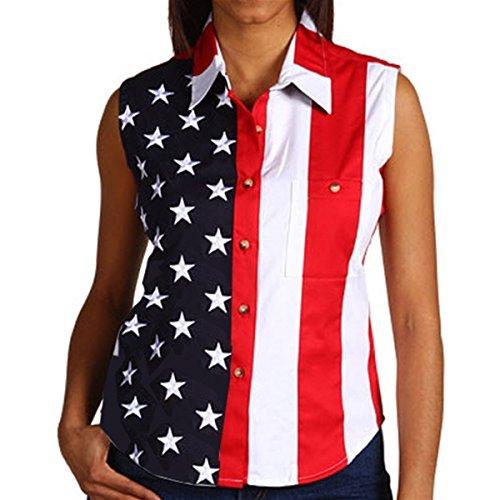 - Woven American Flag Sleeveless Flag Stars Women's Polo Shirt (XX-Large)
