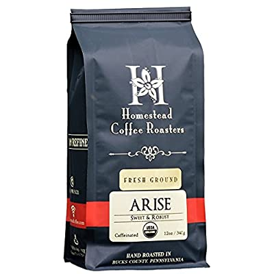 Gourmet Ground Coffee, 100% Organic by ARISE - Signature Medium Roast Blend - 12oz Bag - Colombian and Indonesian Coffee Beans