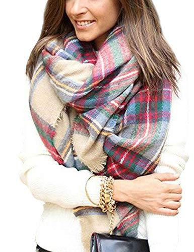 Fesky Plaid Blanket Scarf Oversized Tartan Wrap Shawl Cape Scarves for Women