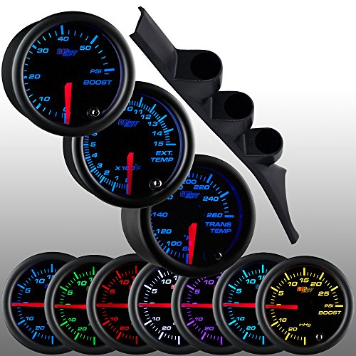 GlowShift 1986-1993 Dodge Ram Cummins Diesel Package + Black 7 Color 60 Boost, 1500 Pyrometer EGT & Trans Temp Gauges