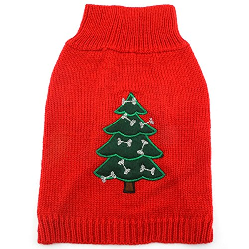 SMALLLEE_LUCKY_STORE Pet Cat Small Dog Sweater Christmas Tree, Red, Small