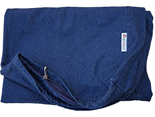 Dogbed4less 47X29X4 Inches Extra Large Blue Color Denim cotton Jean Dog Pet Bed External zipper Duvet Cover - Replacement cover only (Dog Mattress Replacement Cover)