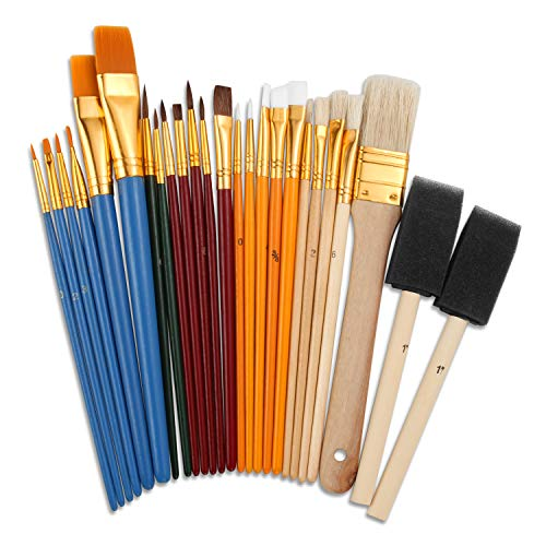 Eliseo 25 PCS All Purpose Paint Brush Set for Kids, Beganer, Paint, Craft, Multiple Mediums, Classroom - Assorted Paint Brushes Great with Acrylic, Oil, Watercolor, Gouache, Tempera Paints