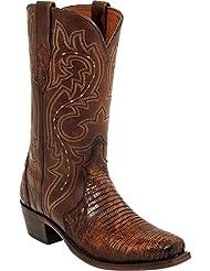 Lucchese Mens Handmade Rust Dwight Lizard Cowboy Boot Square Toe - M3233