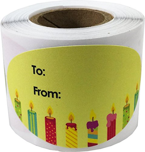 Happy Birthday Gift Tag Stickers for Presents 4 Different Designs 1.5 x 2.5 Inch 100 Adhesive Labels On A ()