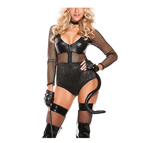 [Lifeisbest Women Halloween Black Sexy Midnight Cat Costume(L)] (Sexiest Couple Halloween Costumes)