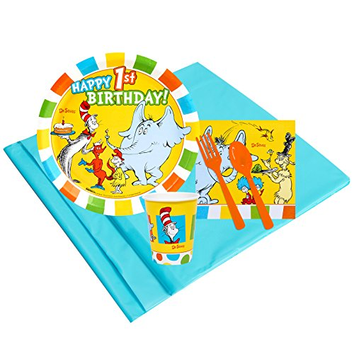 Dr Seuss 1st Birthday Party Supplies - Party Pack for 8 Guests