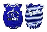 "Kansas City KC Royals Girls 2pc Creeper Bodysuit "" Team Sparkle"" Set Infant Baby Blue Gray (0-3 Months)"