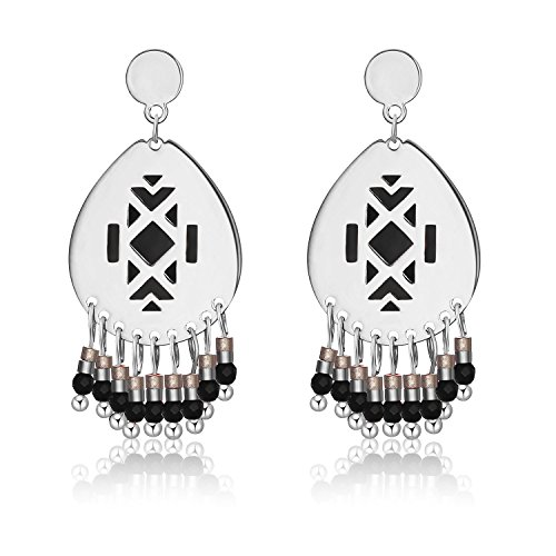 Beaded Earrings Tassel Bohemian Rhombus Dangle Handmade Earrings for Women (Silver Black) ()