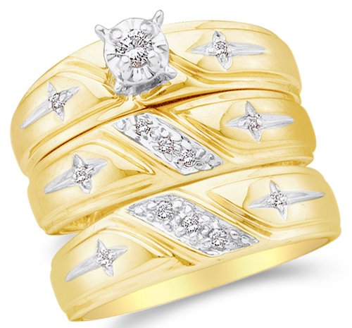 Sizes - L = 9, M = 11 - 10K Yellow and White Two Tone Gold Diamond Mens and Ladies Couple His & Hers Trio 3 Three Ring Religious Cross Bridal Matching Engagement Wedding Ring Band Set - Solitaire Setting w/ Round Diamonds - (.15 cttw) - Please use drop down menu to select your desired ring sizes (10k Ring Religious)