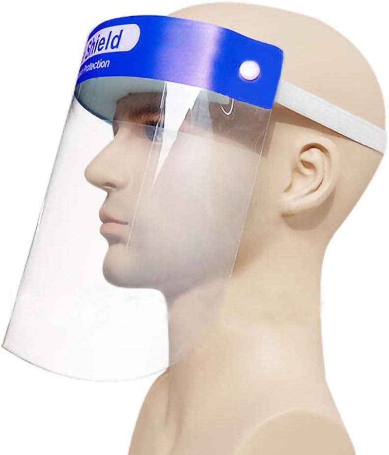 ulofpc Visera Protectora de Cara Completa de 1 Pieza, Pantalla Facial Transparente Ajustable de Plástico Ligero para Evitar Saliva, Gotas, Polen Y Polvo