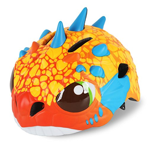 Cute Dinosaur Orange Toddler Kids Children Multi-sport Outdoor Light-weight Cycling Bike Safety Helmet Cute Head Protective Gear with Adjustable Dial for Boys Girls Age 3-4 5-7