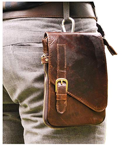 - Le'aokuu Mens Genuine Leather Coffee Fanny Small Messenger Shoulder Satchel Waist Bag Pack (Coffee)