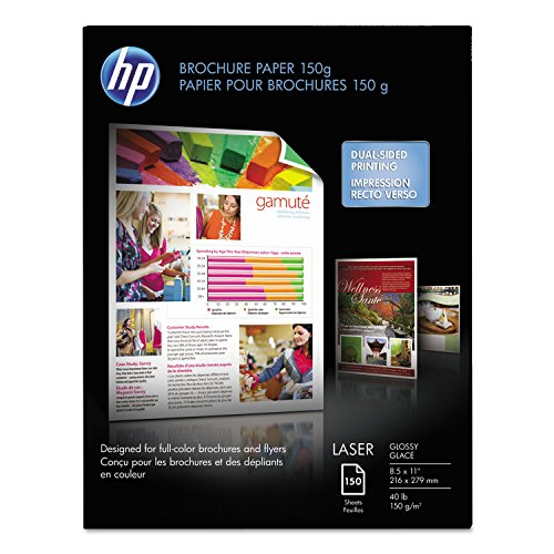 HP Color Laser Brochure Paper, 97 Brightness, 40 lb, 8-1/2 x 11, White, 150 Shts/Pk