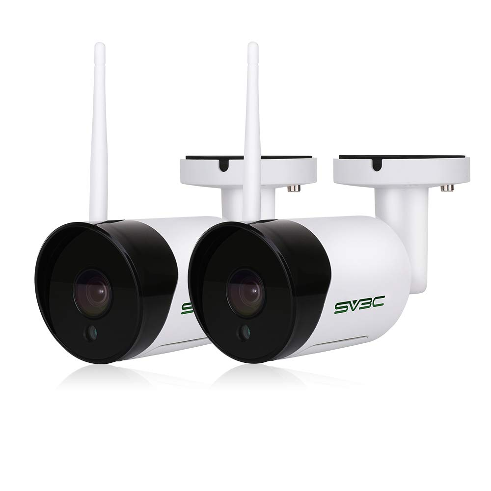 2 Pack Outdoor WiFi Camera, SV3C 1080P HD Security Camera, Wireless Surveillance CCTV IP Camera with Two Way Aduio, IR LED Motion Detection Night Vision Camera,IP66 Weatherproof Camera