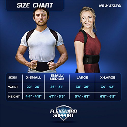 Back Brace Posture Corrector   Best Fully Adjustable Support Brace   Improves Posture and Provides Lumbar Support   For Lower and Upper Back Pain   Men and Women (L (30'' - 36'' waist)) by Flexguard Support (Image #1)