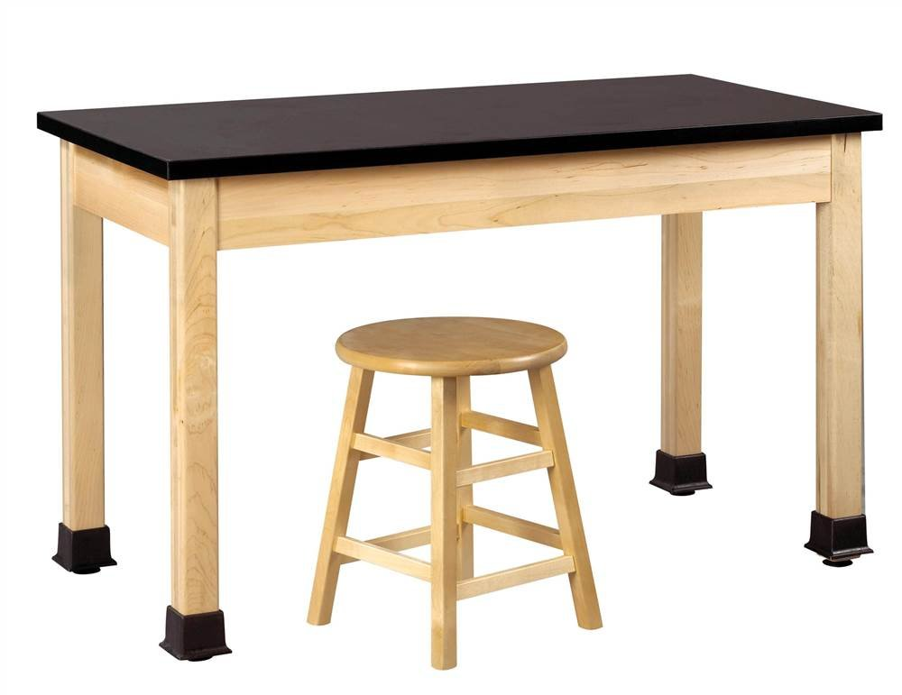Student Science Plain Table (48 in. W x 24 in. D (110 lbs.) w Black ChemGuard)