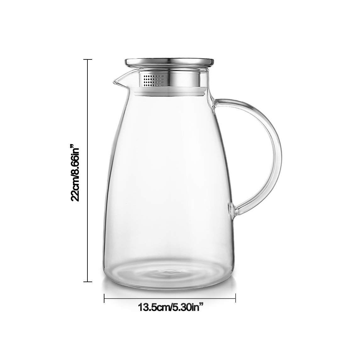 JIAQI 68 Ounces Glass Pitcher with Stainless Steel Lid, Hot/Cold Water Jug, Juice and Iced Tea Beverage Carafe by JIAQI (Image #2)