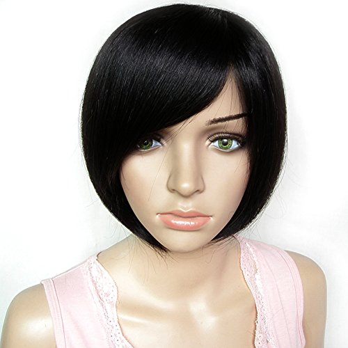 Arich Women Sexy BOBO Head Style Straight Bang Short Wigs Hairnet Hair Cap (Black)
