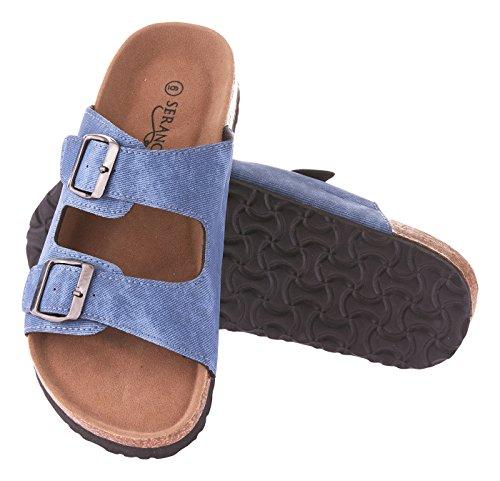 Seranoma Women's Comfort Double Buckle Indoor/Outdoor Cork Sandal | Classic Comfortable Slide | Adjustable Buckles Blue