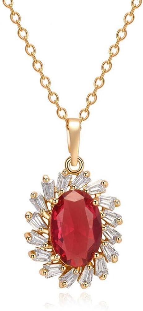 Collar Vintage para Mujer, Colgante de Cristal Artificial con Piedras Preciosas Rojas con Cadena de Oro de 18 Pulgadas, Collar de joyería clásico