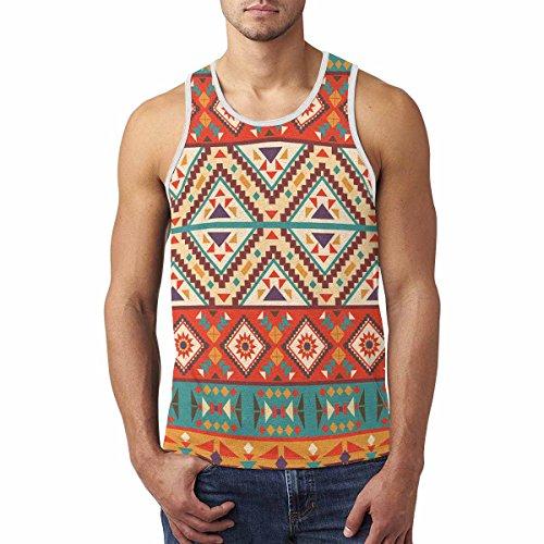 InterestPrint Colorful Navajo Pattern Men's Tank Tops T-Shirt Gym Workout (Art Print Tank Top)