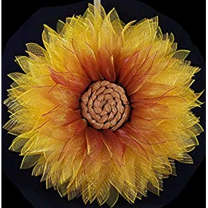 Fall Winter Wreath for Front Door Deco Mesh SunFlower Yellow Gold Burgundy Home Wall Decor 26 inch 28