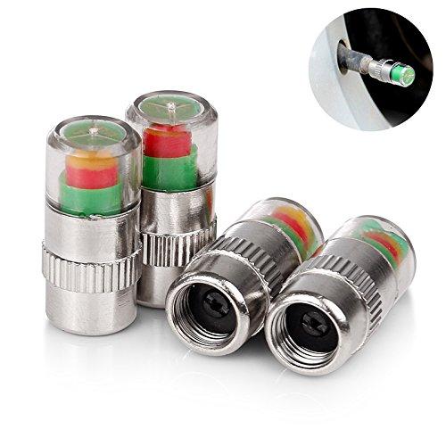 Fomccu 4pcs 36PSI Indicateur de pression de pneu Valve Stem Caps 3Couleur oeil Alerte (Bouchon) good