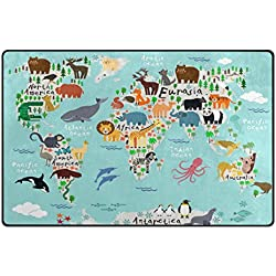 Cooper girl Nautical Animal World Map Area Rug Floor Carpet 60x39 Inches Non-Slip Kids Home Decoration