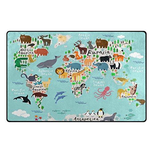 Cooper girl Nautical Animal World Map Area Rug Floor Carpet 60x39 Inches Non-Slip Kids Home Decoration