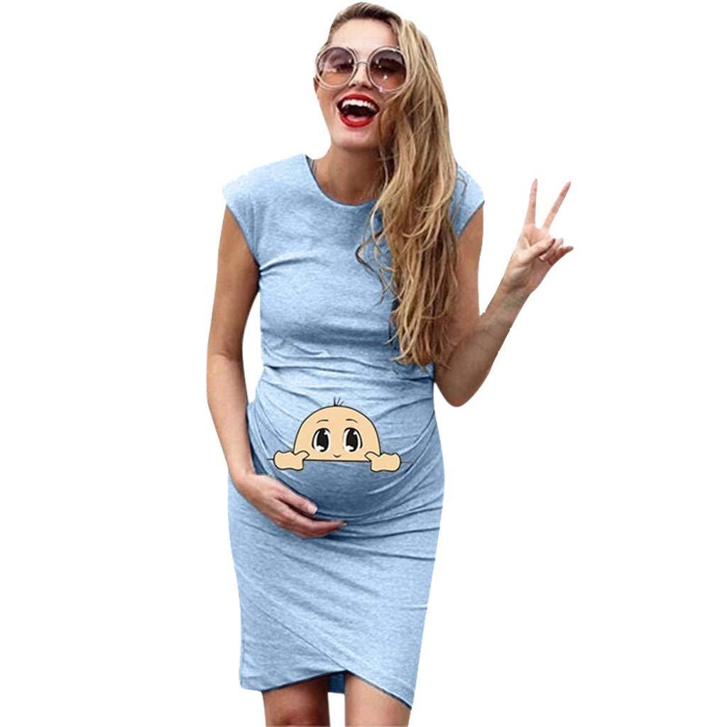Falda de Lactancia con Estampado de Dibujos Animados Manga Corta LINSINCH Vestido de Maternidad para Mujer