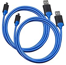 AmazonBasics PlayStation 4 Controller Charging Cable - Pack of 2, 6 Foot, Blue