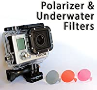 The Accessory Pro® Polarizer and Underwater Dive Filters compatible with all GoPro® Hero4 Hero3+ Hero3 cameras - 3 Pack