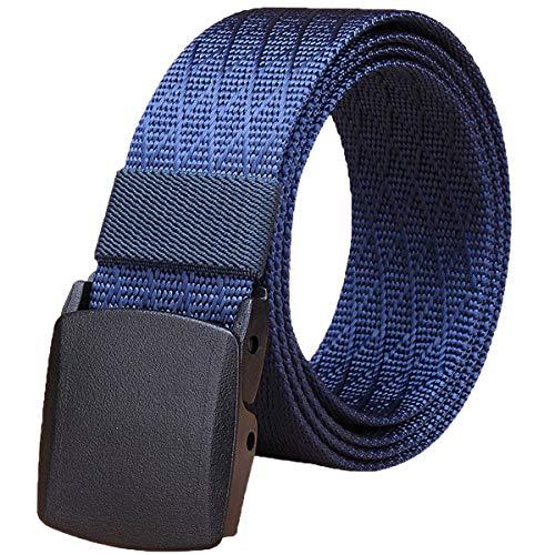 WYuZe Mens Military Tactical Web Belt, Casual Nylon Webbing with No Metal Buckle,Dark Blue,Waist: 28