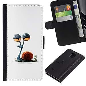 KLONGSHOP / Tirón de la caja Cartera de cuero con ranuras para tarjetas - Stoned Minimalist Drawing - Samsung Galaxy Note 4 SM-N910
