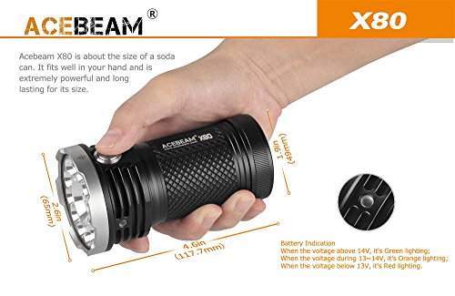ACEBEAM X80 LED Flashlight 12x Cree XHP50.2 25000 Lumens 5-color Light Beam Flashlights Included 4 3100mah Batteries by Acebeam (Image #3)