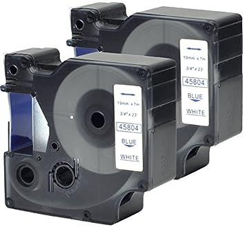 2 Casetes de Cinta compatibles con Dymo D1 45804 S0720840 Azul sobre Blanco 19mm x 7m