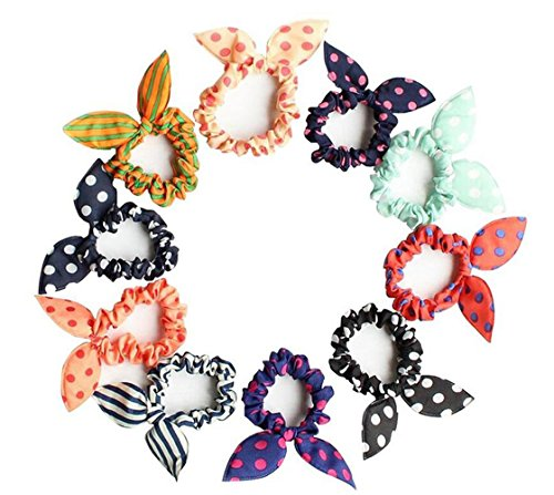 French Bunny - 10PCS Diameter 2.3inch High Elastic Bunny Rabbit Ear Rubber Band Hair Tie Ponytail Ring Holder Hair Rope Wrap Hair Scrunchie Styler Styling Accessories for Thin Hair(Color Random)
