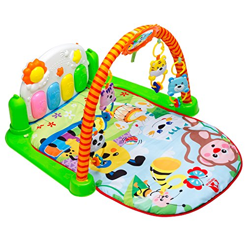 Tapiona Baby Gym Kick And Play Mat - Infant Activity Gym - Newborn Gift for Boy And Girl 1-36 Month With Kick Piano, Mirror, 5 Rattle Toys - Lay and Play, Sit and Play, Tummy Time Activity Mat Infant