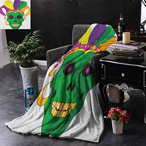 Kenneth Camilla Printed Throw Blanket Mardi Gras,Scary Looking Green Skull Mask with Carnival Hat Beads and Earring Cartoon Style,Multicolor,Custom Design Cozy Flannel Blanket 50
